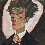 """Egon Schiele. """"Autoportrait avec gilet paon"""" (détail), 1911"""