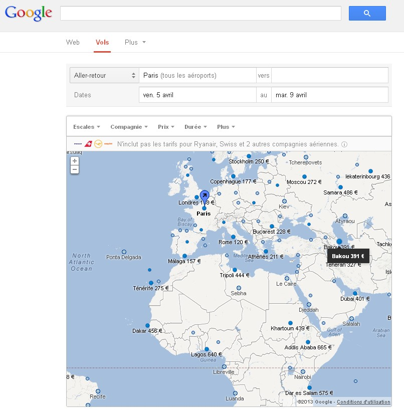 google flight search se pose en europe sans lufthansa ni easyjet. Black Bedroom Furniture Sets. Home Design Ideas