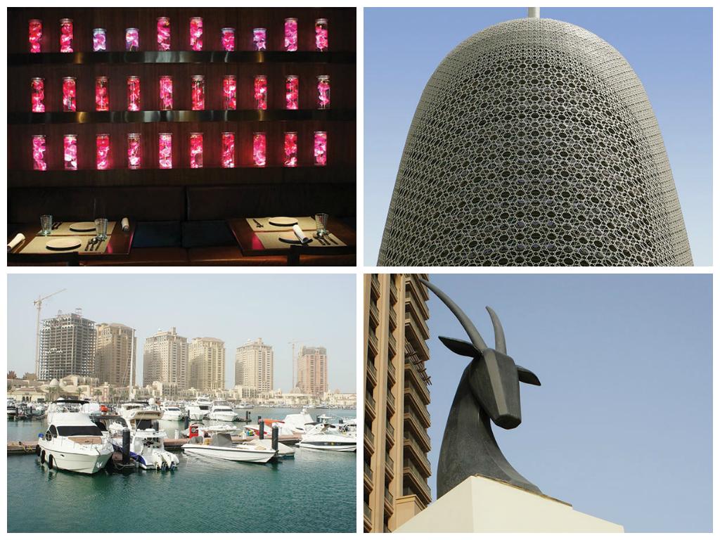 1. Nusantao, un restaurant de poissons aux goûts subtils venus d'Asie. 2. Dessinée par Jean Nouvel, la Doha Tower a étét inaugurée en 2012. 3. Porto Arabia, au coeur de The Peral, île Artificielle en voie d'achèvement. 4 .L(Oryx, symbole national omniprésent à Doha et thème du logo de Qatar Airways.