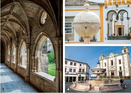 2, 3 et 4 — Evora ou le joyau de l'Alentejo. La cité classée à l'Unesco rivalise presque avec Lisbonne par l'ampleur de son patrimoine historique. Mégalithes millénaires, temple romain, cathédrale gothique, édifices de style manuélin, influence discrète de l'art mudéjar : tout y est. Son honneur retrouvé de ville du savoir – l'université, fermée à la suite de l'expulsion des jésuites, a rouvert en 1979 – , Evora vit au rythme de ses étudiants qui animent les cafés bondés de la Praça do Giraldo.