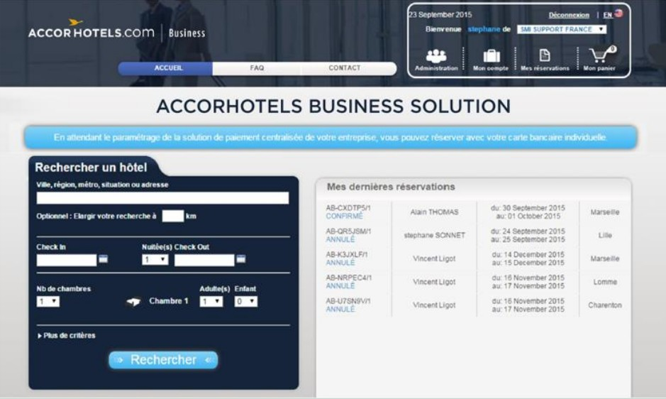 Accorhotels lance accor hotels business solution for Plateforme reservation hotel