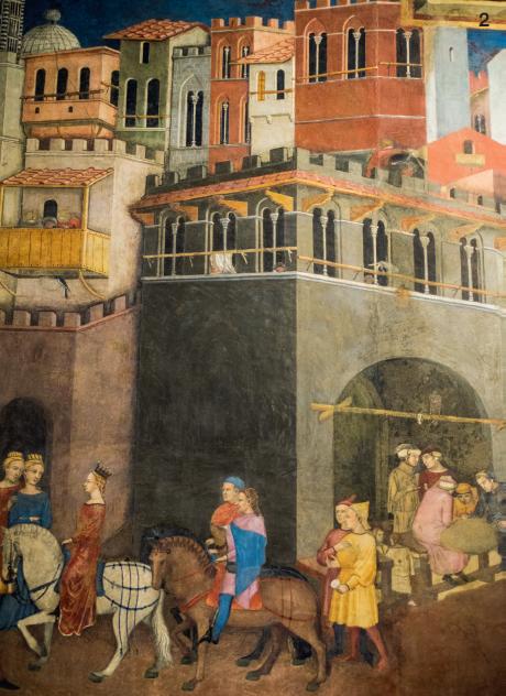 2 — Au Palazzo Publico de Sienne, les fresques sur les Effets du bon et du mauvais gouvernement invitent à méditer sur la mesure dans l'exercice du pouvoir.