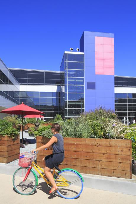 Le Googleplex de Mountain View, un siège dans l'air du temps, ultra high-tech et pourtant très vert.