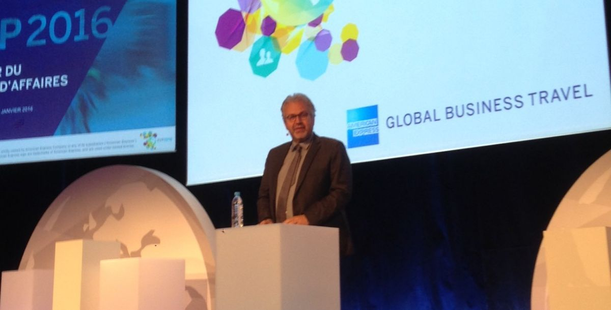 Philippe Chérèque, Directeur Technologie d'American Express GBT, sur la scène de l'EVP 2016