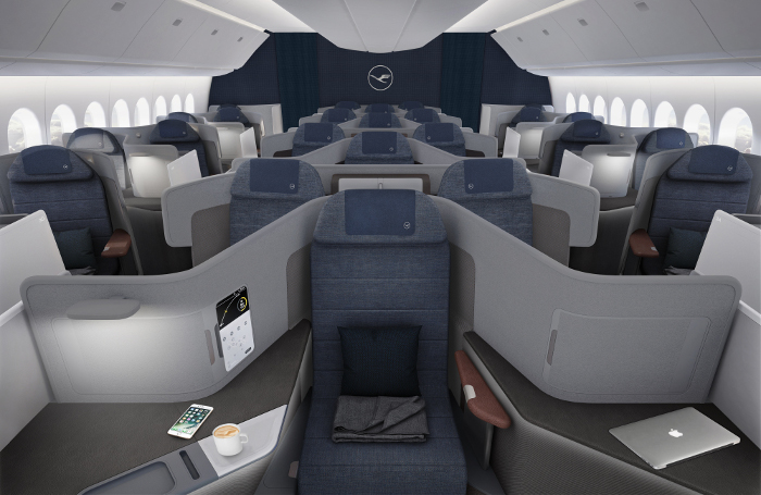 Intérieur de la future business class de Lufthansa.