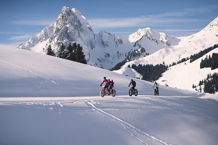 Snow bike, freeride ou, plus classiquement, promenades en raquettes ou en traîneau à chiens :  Gstaad propose toutes les activités en grand blanc.