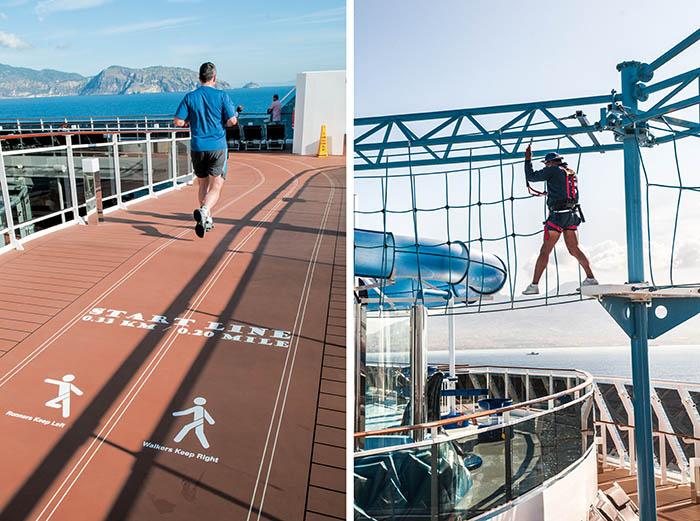 Piste de footing sur le pont supérieur, parc aquatique, complexe sportif, salle de fitness équipée dernier cri : une multitude d'options permettent de garder la forme, même en haute mer.