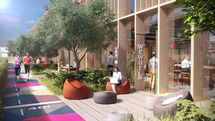 Un espace WeWork, face à la piste de jogging de 1 km ©SNCF Gares&Connexions – Ceetrus – Valode & Pistre Architectes