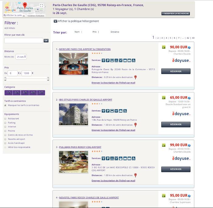 Exemple de recherche CDG Dayuse Business plateforme