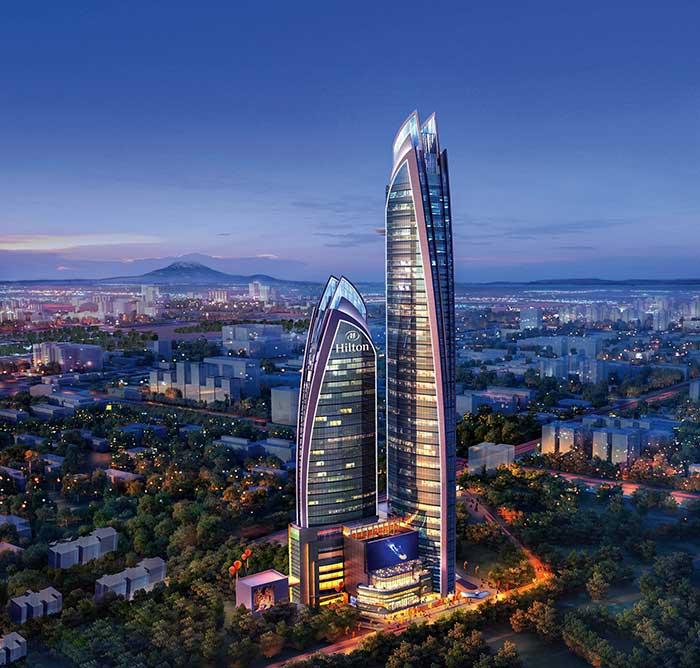 Intégrant un Hilton, l'immense tour Pinnacle de Nairobi symbolise l'essor économique du continent.© Hilton Worldwide