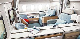 Tandis que l'espace entre les sièges va en s'amenuisant en classe économique, les compagnies, comme ici Air France avec sa nouvelle Première, cherchent à s'attirer les grâces des clients haute contribution en leur offrant un confort inégalé. Et surtout de l'espace, beaucoup d'espace.
