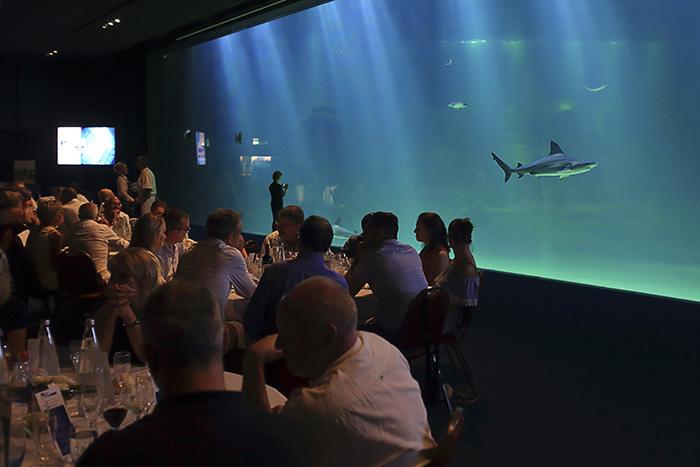 À Boulogne-sur-Mer, le Centre National de la Mer Nausicaa développe l'accueil d'événements d'entreprise avec l'ouverture, l'an dernier, d'un espace pour des dîners de gala face au plus grand aquarium d'Europe. © Philippe Turpin