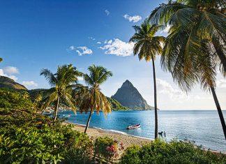 Éruption tropicale.. Comme surgis de la mer, étouffés sous la forêt tropicale, deux pitons dominent Soufrière, sur l'île de Sainte-Lucie. Un site unique, et classé à ce titre à l'Unesco.