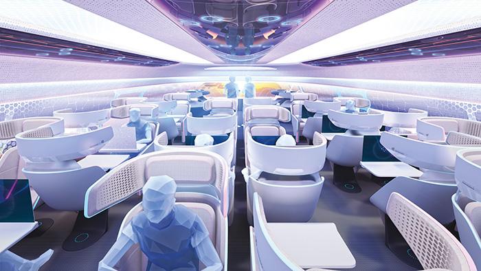 Airbus a dévoilé sa vision des cabines d'avion en 2030, optimisées grâce à l'intelligence artificielle. En jeu : une expérience personnalisée avec des espaces s'adaptant aux différents besoins des voyageurs. © Airbus S.A.S.