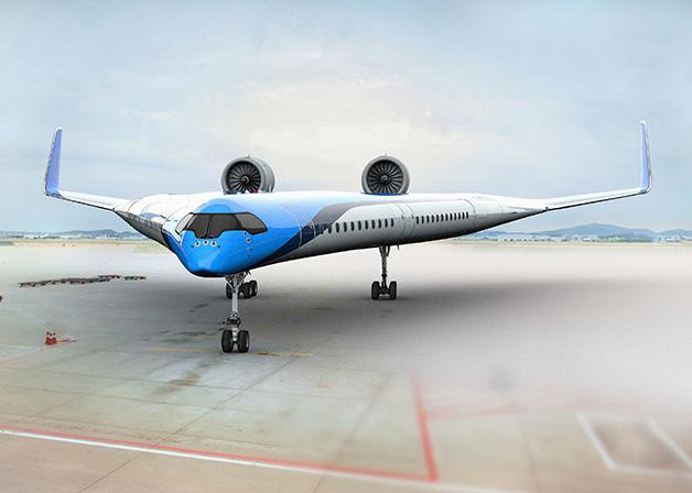 """KLM s'est associé à l'université de Delft pour travailler sur un concept à la fois durable et innovant : une aile volante baptisée """"Flying-V"""". Une forme très aérodynamique qui permettrait de réduire de 20 % la consommation en carburant."""