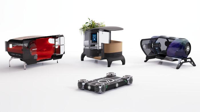 Autour du Citroën Skate, les trois Pods Sofitel en Voyage, JCDecaux City Provider et Pullman Power Fitness (de gauche à droite).